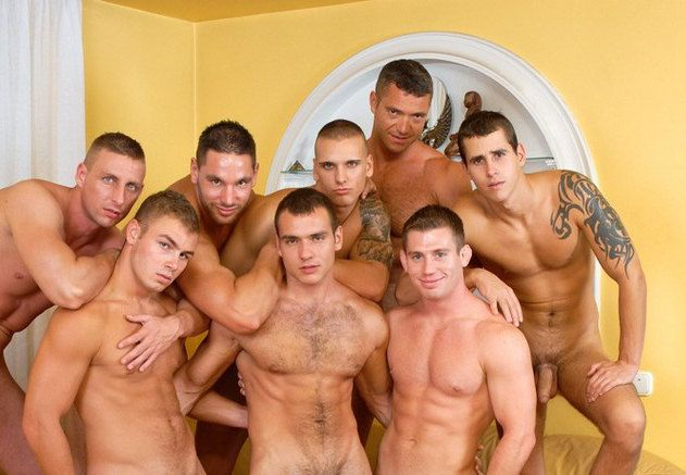 Hot gay guys group fucking