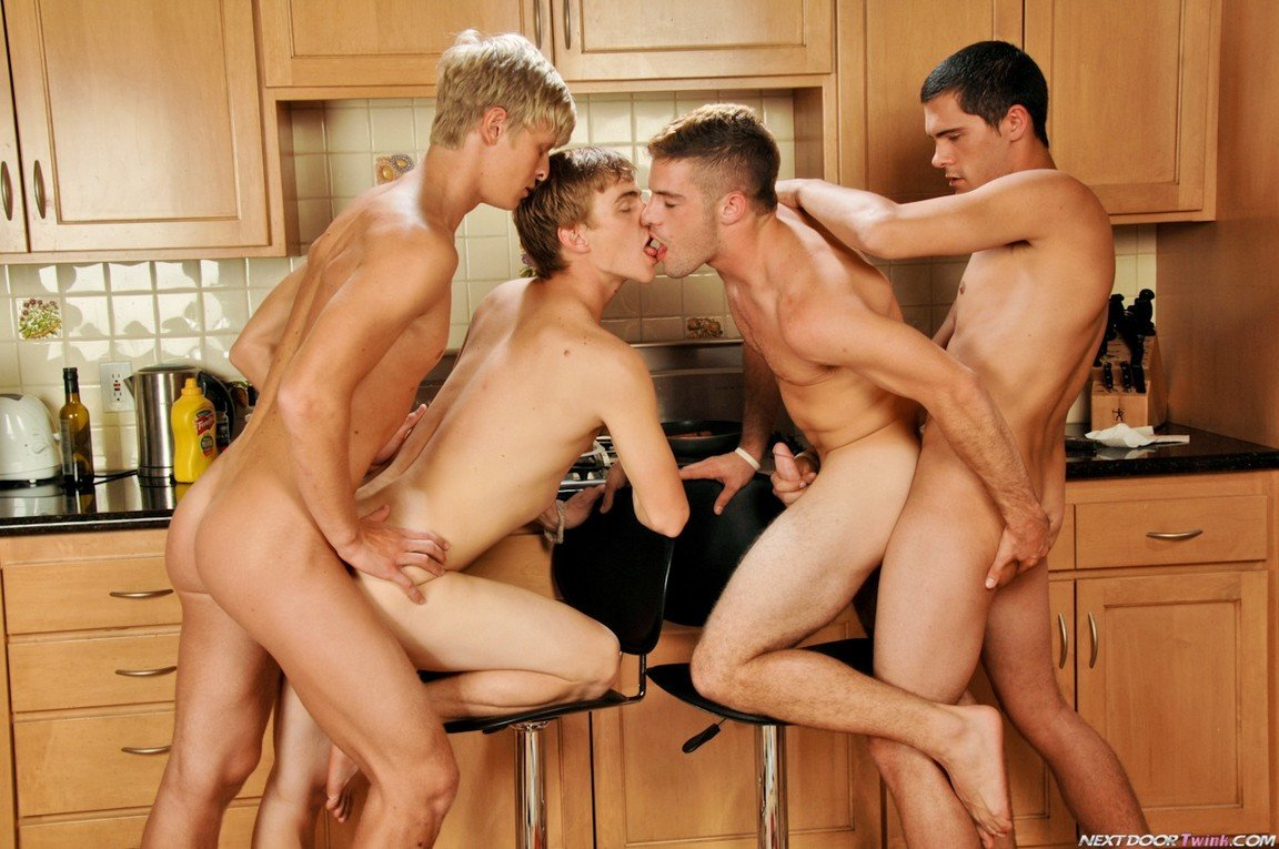 Gay fuck in the kitchen