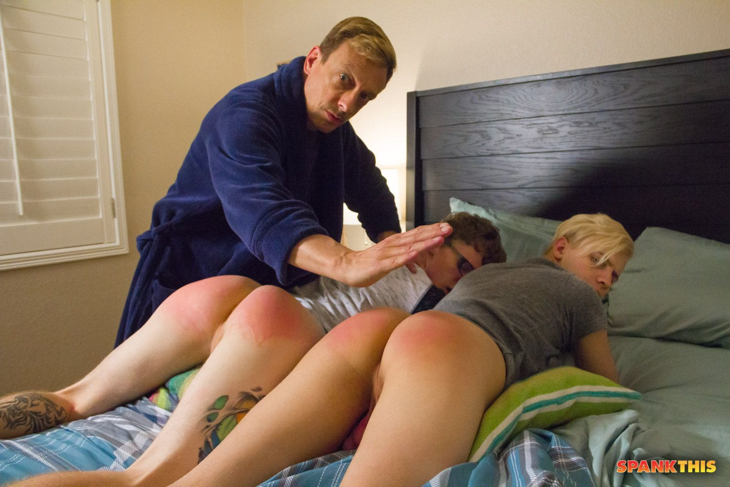 Man spanks stepdaughter and fucks in her friend's presence